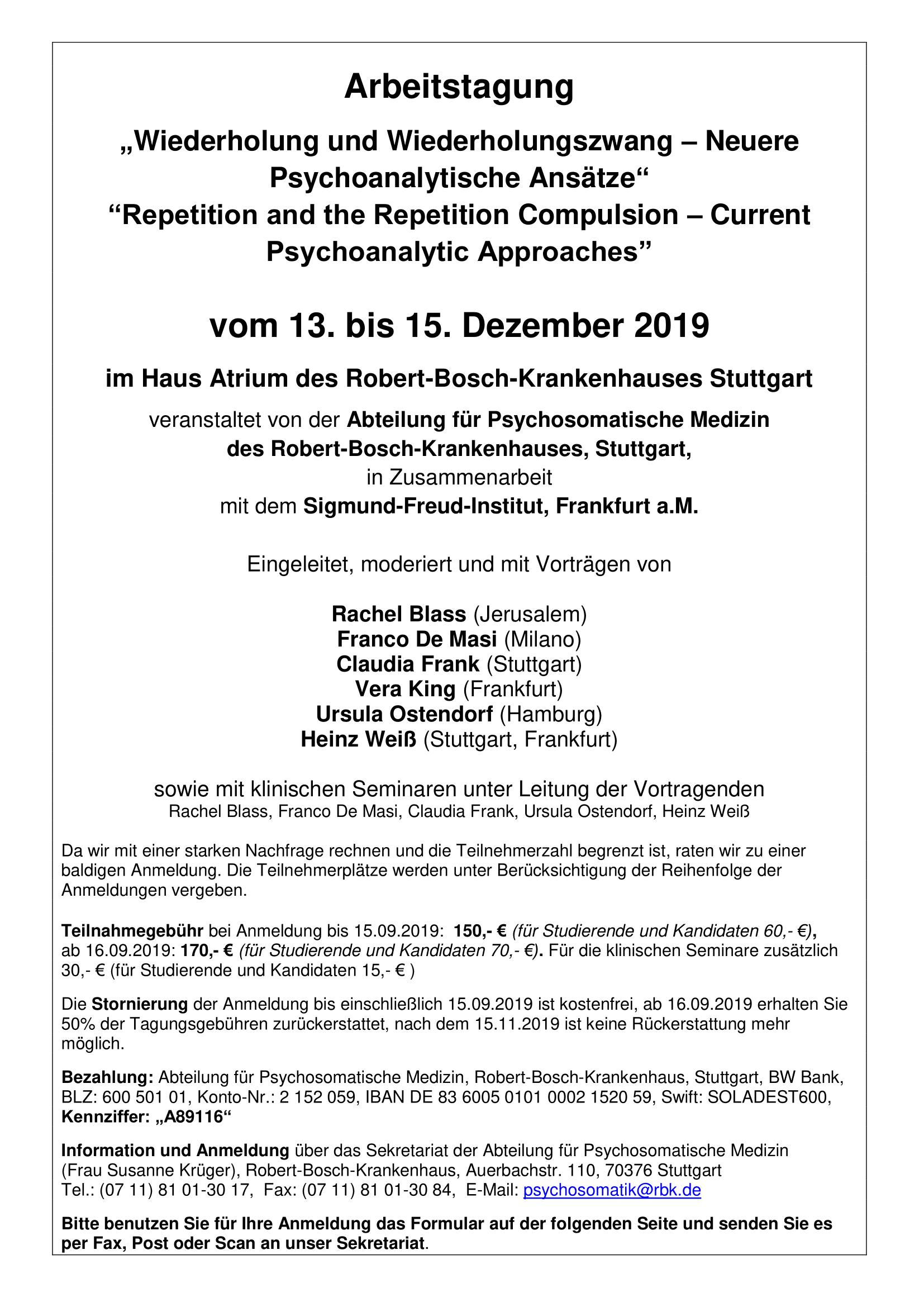 Ankündigung Tagung Stuttgart