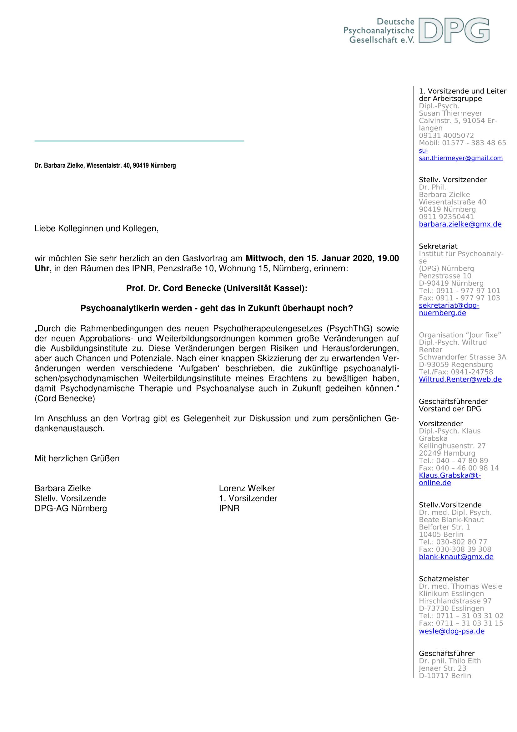 Einladung Vortrag Benecke 1